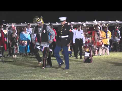 US Marine War Dancing at Iowa Tribe of Oklahoma Powwow 2014