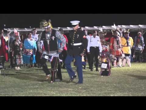 US Marine War Dancing at Iowa Tribe of Oklahoma Powwow 2014