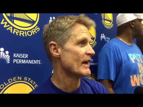 STEVE KERR, Golden State Warriors (62-14) practice, day before Washington Wizards