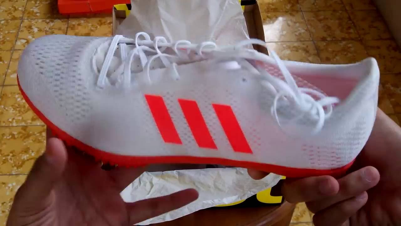 Crueldad estoy feliz Brillante  Sepatu Spikes Adidas Adizero Avanti White BB4092 Unboxing - YouTube