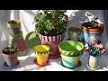 DIY Painted Flowerpots Lace Pot, Denim Pot, Flamingo Pot, Crazy Quilt
