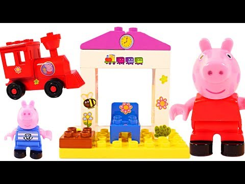 Mejores Videos Para Niños Aprendiendo - Peppa Pig Train Station Blocks Fun Videos For Kids