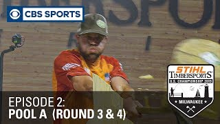 STIHL TIMBERSPORTS® Lumberjack Sports Athletes Battle in Extreme Competition | Pool A, Rounds 3 \u0026 4