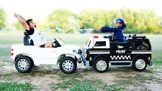 POLICE KIDS  Playing Police Car Ride on Power Wheel Police Car | Kids Cars Toys