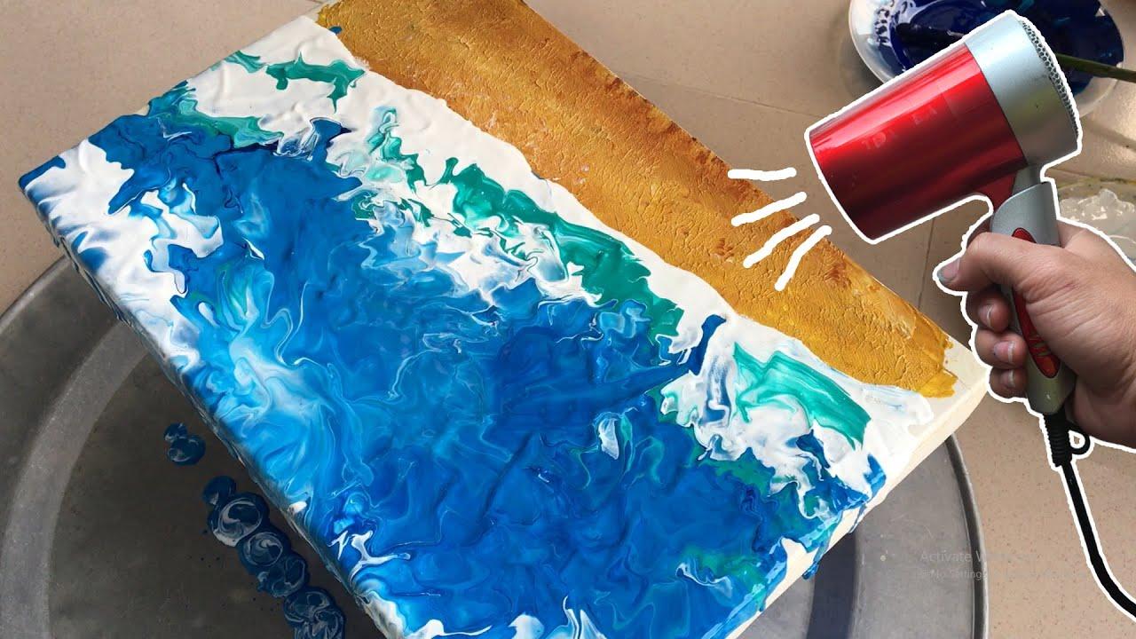 VT_Acrylic#3 / Vẽ tranh đơn giản / Vẽ sóng biển bằng máy sấy tóc