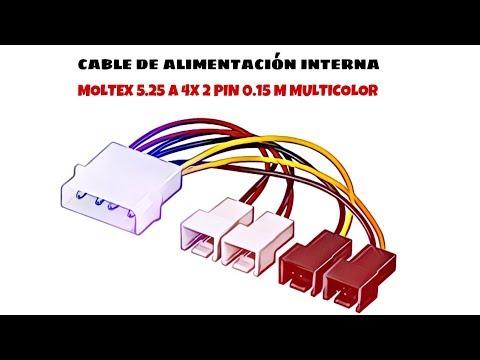 Video de Cable de alimentacion interna molex 5.25 a 4x 2 pin 0.15 M Multicolor