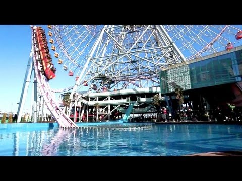 Vanish rollercoaster in the water Yokohama Japan HD