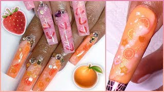 🍓🍼pink Drink & Cremecicle Nails Tutorial!🍦🍊 Marble Fimo Fruit Glitter Bling