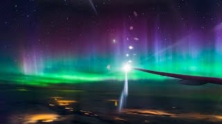 Aurora Borealis In-Flight - Northern Lights Above the Clouds