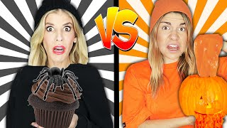 BLACK VS ORANGE COLOR CHALLENGE! Eating In 1 Color For 24 Hours! Rebecca Maddie Challenges