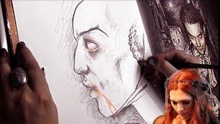 Victoria Francés drawing a vampire
