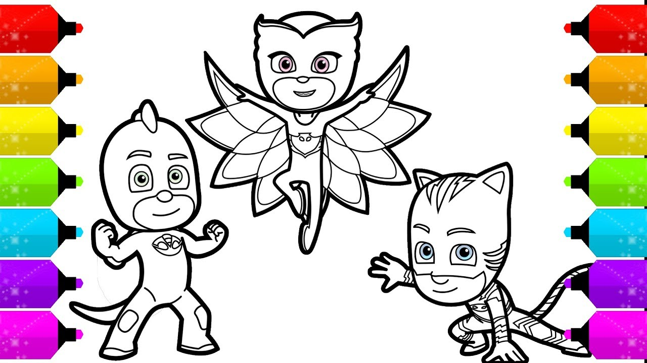 PJ Masks Owlette Gekko, Catboy Drawing and Coloring for ...