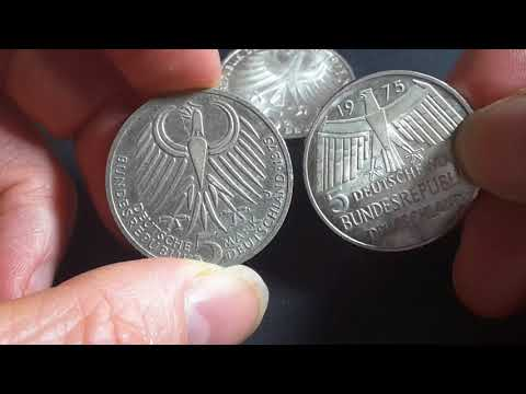 German 1975 commemorative silver 5 Deutsche Mark coins