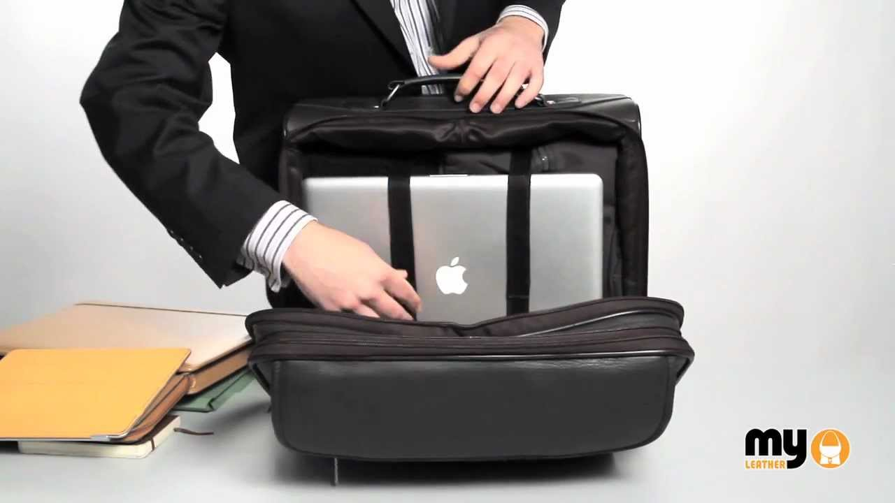 LEATHER LAPTOP TROLLEY / WHEELED BUSINESS BAG by