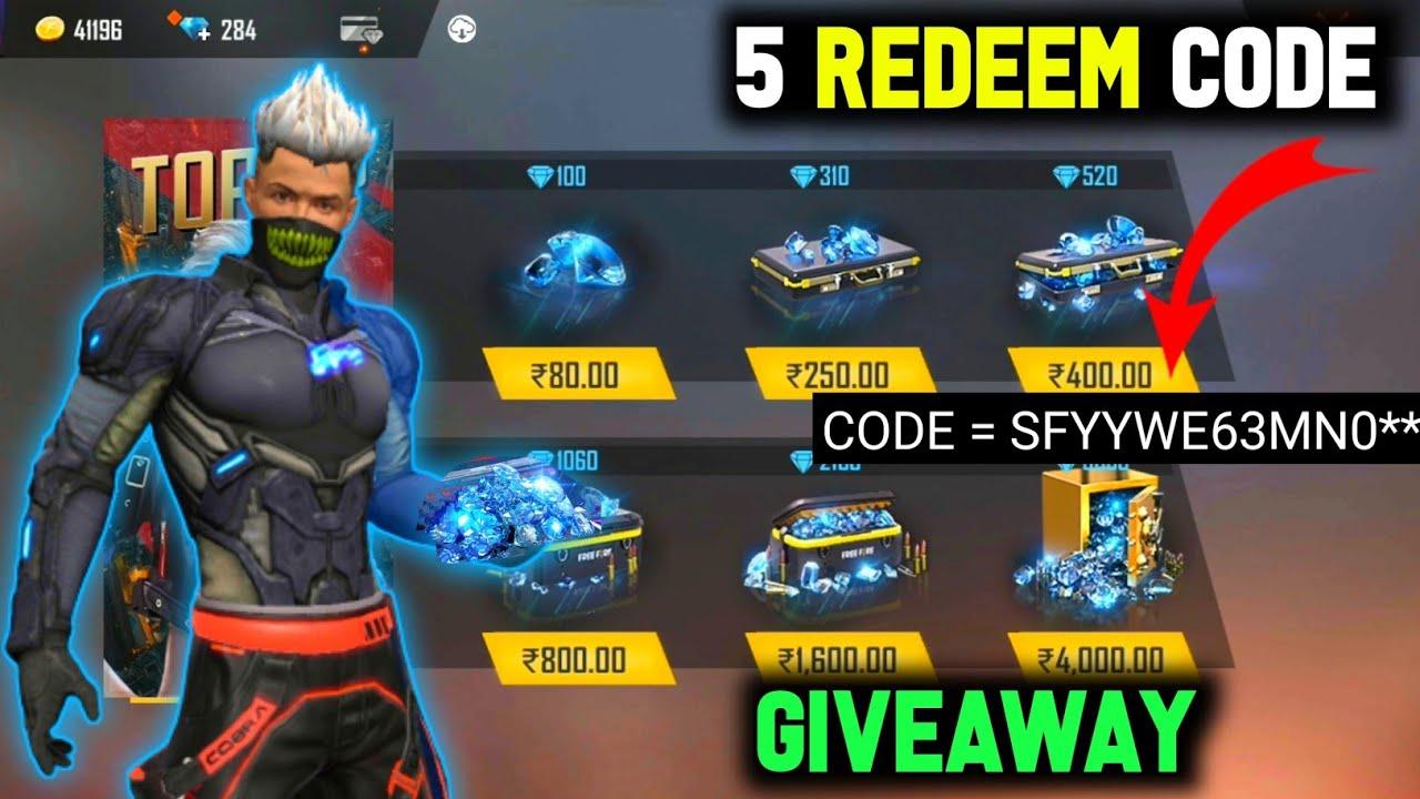 5 Redeem Code Giveaway - Garena free fire 🔥 redeem now 💎 #shorts