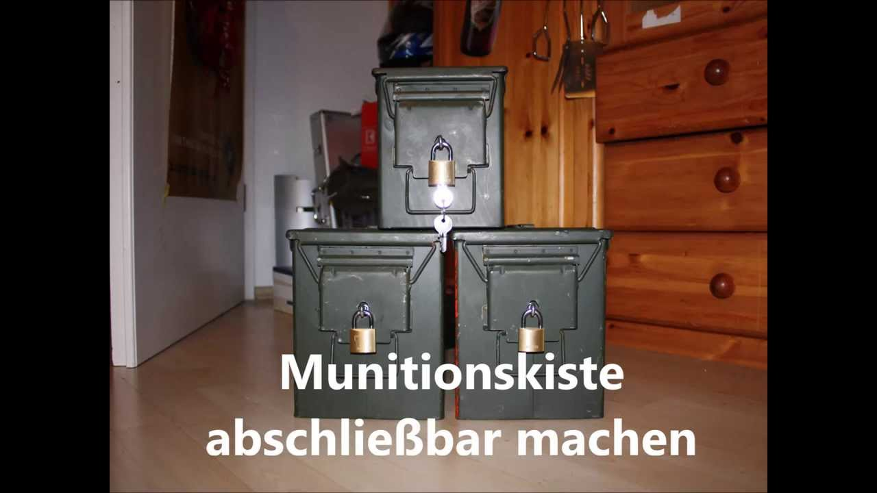 munitionskiste abschlie bar machen youtube. Black Bedroom Furniture Sets. Home Design Ideas