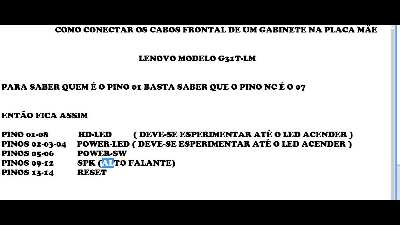 CONECTAR G31T-LM LENOVO AO PAINEL FRONTAL PC - YouTube
