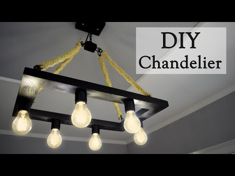 DIY Industrial Style Hemp Rope Chandelier for 35$