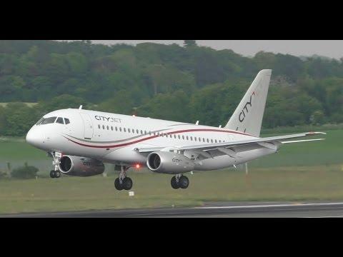 Cityjet SSJ100 Landing & Takeoff at Prestwick Airport