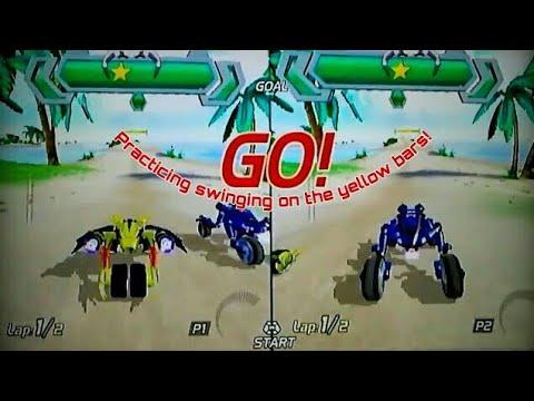 Wii ExciteBots: Trick Racing G2, 2P Local Splitscreen, School Cup On Fiji, Bat Vs Frog!