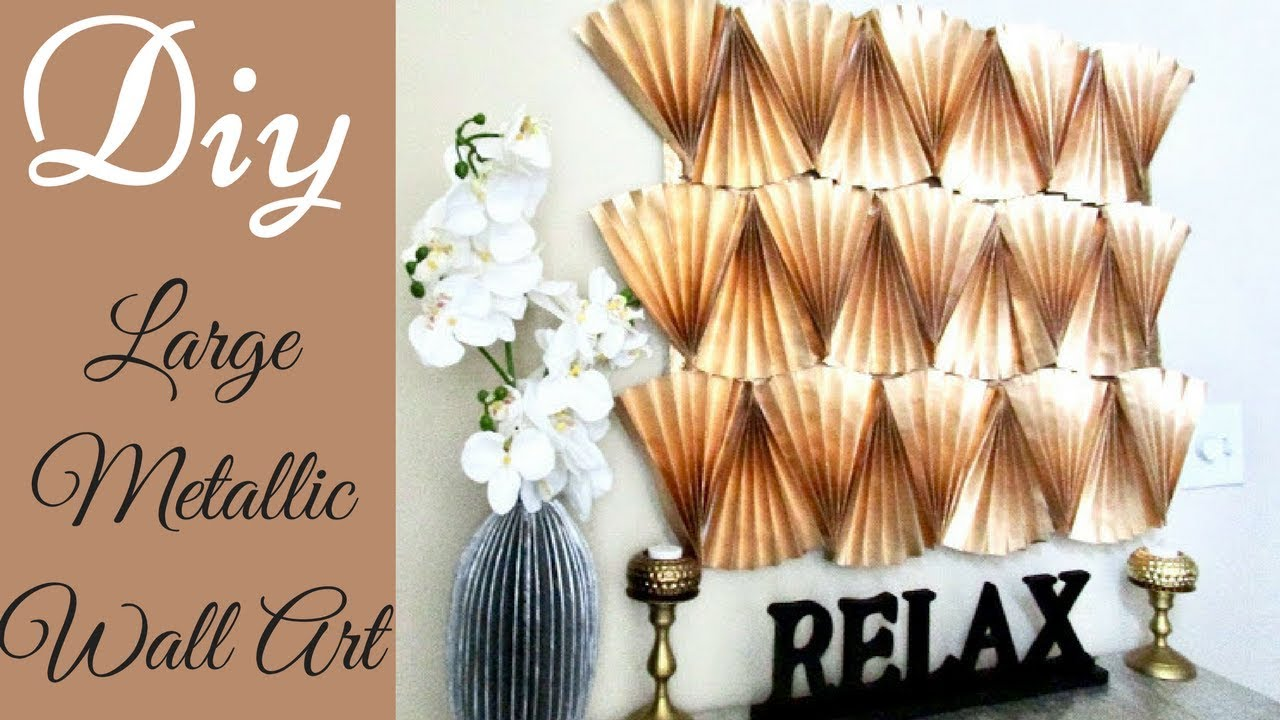 Diy Large Metallic Wall Decor Using Papers!!! Inexpensive