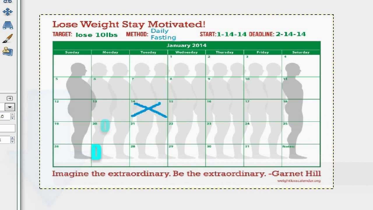 Weight Loss Goal Calendar Day 1 - Reach Your Weight Loss ...