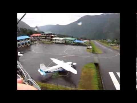 Carzy takeoffs and landings in Tenzing-Hillary Airport, Lukla, Nepal