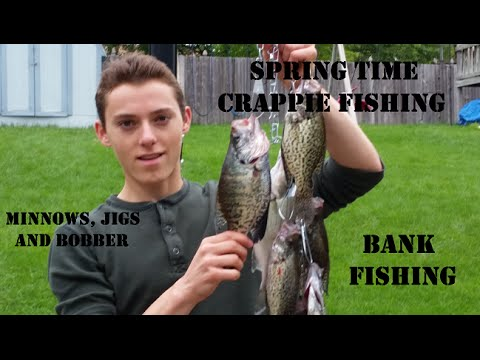 Bank fishing for spring crappie with minnows bobbers and for How to fish for crappie from the bank