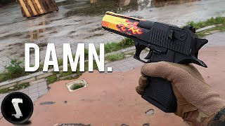 One-Tapping Airsoft Players with REAL CS:GO Desert Eagle Blaze!!
