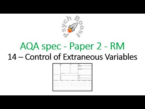 Control of Extraneous Variables - Research Methods (7.14) Psychology AQA paper 2