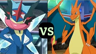 Pokemon Mega Charizard Y vs Ash greninja | spoken : though it all