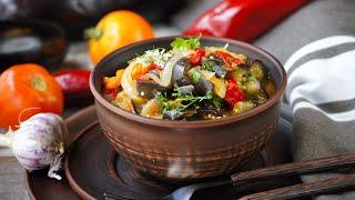 Аджапсандал в мультиварке рецепт постного блюда грузинской кухни из баклажанов и других овощей
