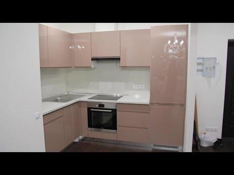 Кухни без ручек Киев код: 7470. Кухня мдф покраска. Фасады без ручек. Дизайнерская мебель.