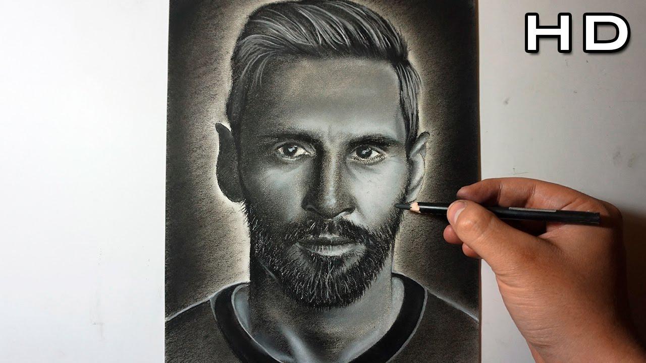 Dibujo de Lionel Messi al Carboncillo  Dibujando un Retrato de