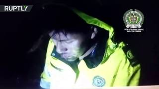 RAW  Plane crash survivor in deep shock during rescue by Colombian police