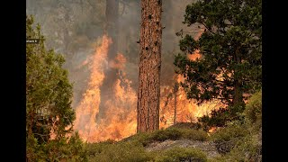Firefighters battle the Caldor Fire as it nears South Lake Tahoe.