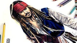 Dibujo de Jack Sparrow - johnny depp - speed drawing