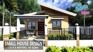 Small House Design  6 X 6 Meters , 2 Bedroom  Pinoy House