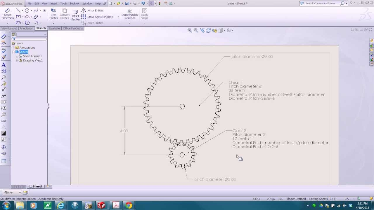 SolidWorks 2012 spur gears with toolbox