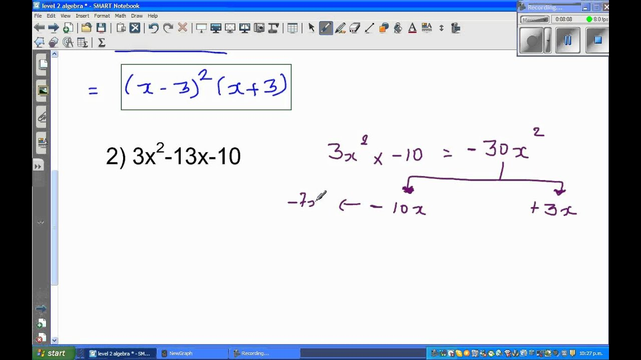 Factorise fully x^3 -3x^2 -9x+27 and 3x^2 -13x -10 - YouTube