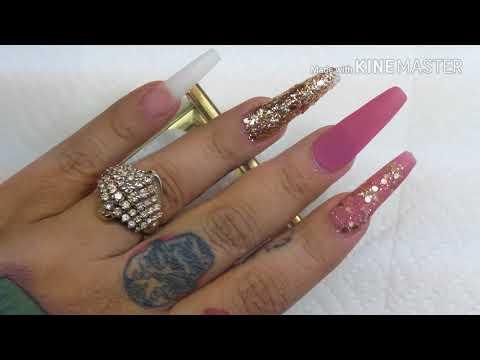 Repeat Uñas Acrilicas Rosa Y Dorado By Carolina Nails