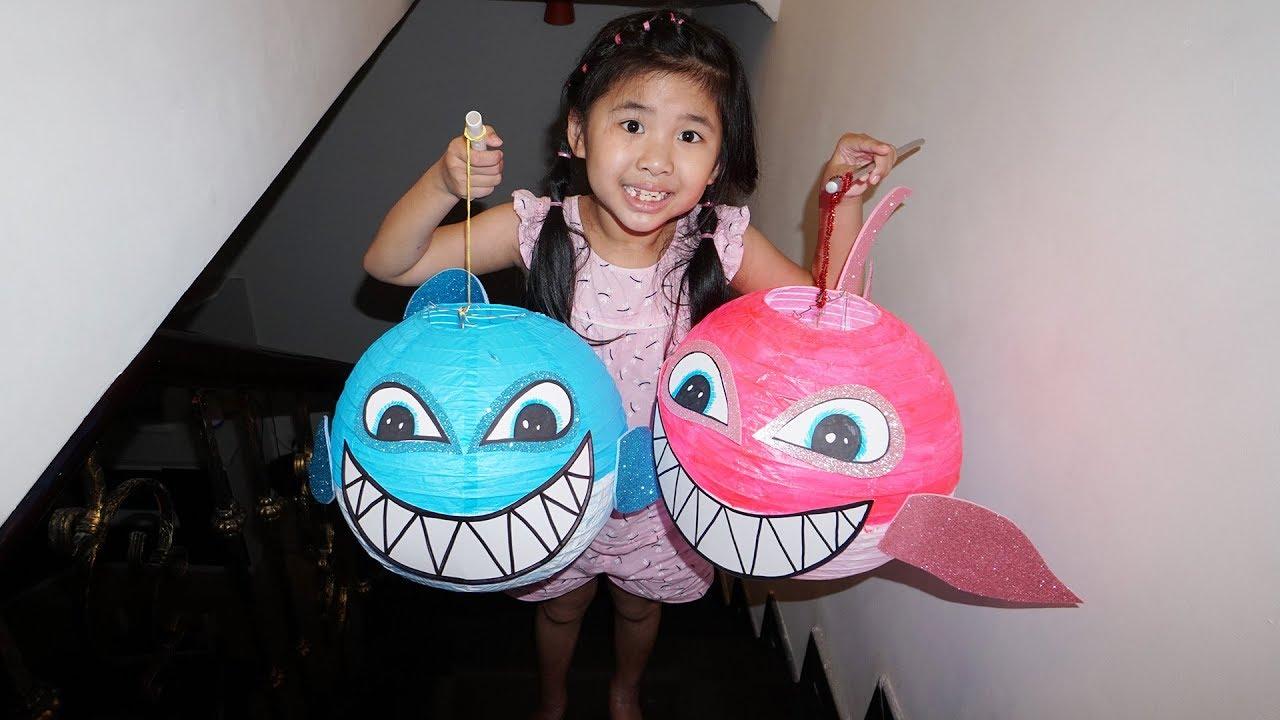 Bố Làm Đèn Trung Thu Cá Mập Cho Bé Bún và Bé Bắp   DIY Paper Shark Mid-autumn Lights