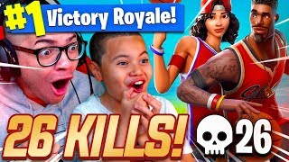 OMG -NEW BASKETBALL SKINS SONT INSANE! 9 ANS FRÈRE SI BON! 26 KILLS! FORTNITE BATTLE ROYALE!