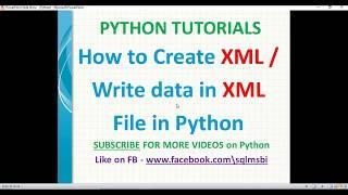 Python Tutorial | Create XML file using python | python xml examples