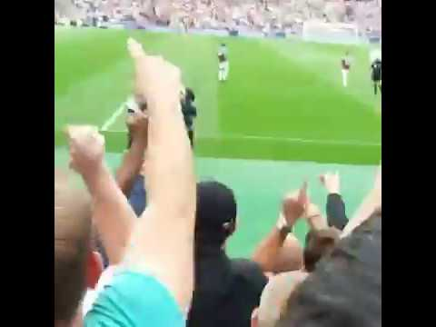 Tottenham fans celebrate Christian Eriksen's goal at West Ham
