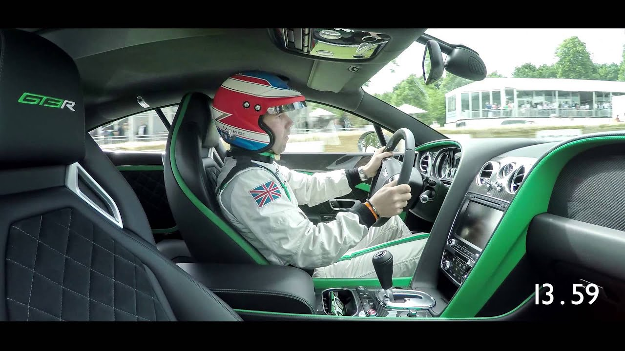 Andy Meyrick drives the Continental GT3-R Up the Hill at Goodwood 2015