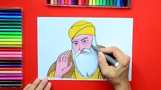 How to draw and color Guru Nanak Dev Ji