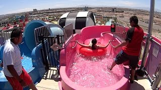 pink gogo water slide at cowabunga bay las vegas