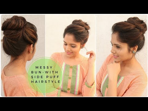 Easy Messy Bun with Side Puff Hairstyle