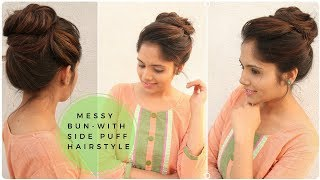 Download lagu Easy Messy Bun with Side Puff Hairstyle Stylish Bun Hairstyle for school college work MP3